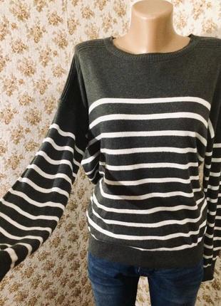 Полосатый свитер размер m-l оверсайз свободный1 фото