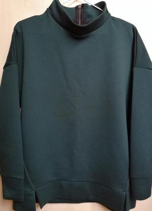 Свитшот тёмно - зелёного изумрудного цвета тёплый на флисе от next m / l1