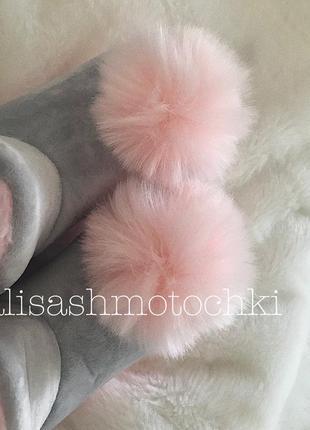Шикарні милі тапочки тапки серие розовие з пушком мехові4