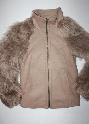 Актуальная куртка пальто  с рукавами из эко меха zara2 фото
