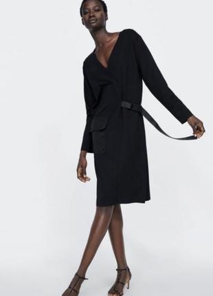 Платье миди zara оригинал прямое с ремнём оригинал с карманом классическое1