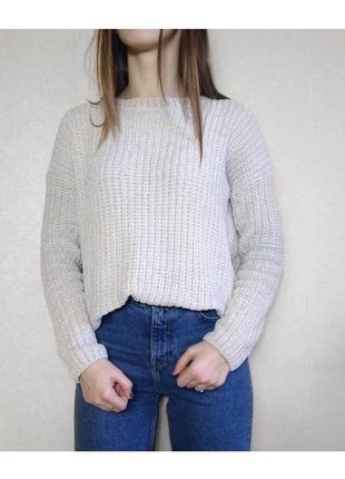 Молочный велюровый, бархатный, плюшевый, мягкий свитер