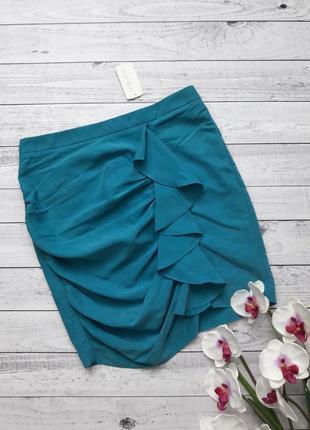 Юбка forever 21, бирюзова голубая мини юбка, класическая деловая юбка с оборками1 фото