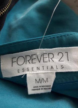 Юбка forever 21, бирюзова голубая мини юбка, класическая деловая юбка с оборками4 фото