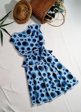 Винтажное платье миди с воланом в красивый горох (ретро)1