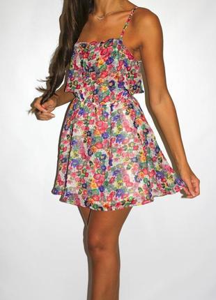 Шифоновое платье в цветочках - красивая грудь и спинка1