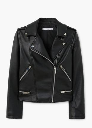 Черная косуха mango, испания. женская кожаная куртка, кожанка1