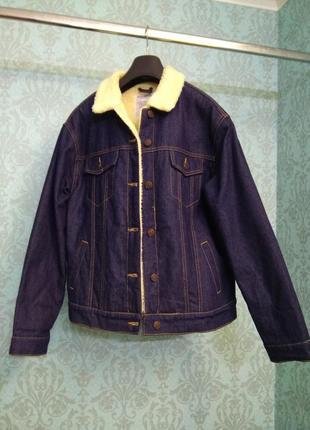 Теплая джинсовая куртка с мехом pull and bear3 фото