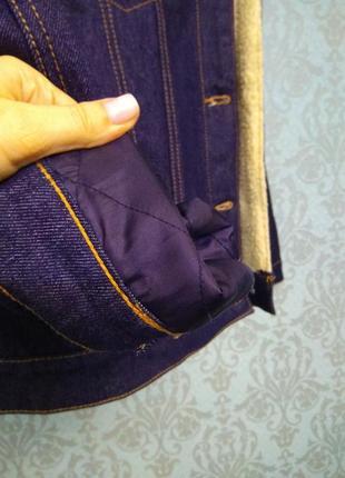 Теплая джинсовая куртка с мехом pull and bear5 фото