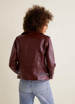 Коричневая косуха mango, испания. женская кожаная куртка, кожанка5