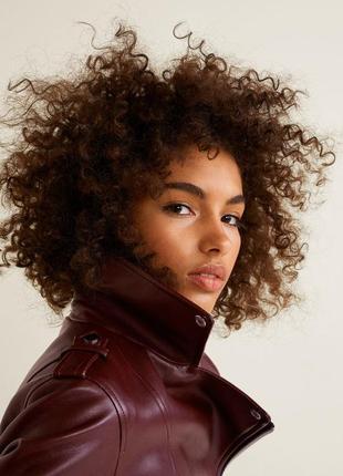 Коричневая косуха mango, испания. женская кожаная куртка, кожанка6