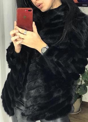 Новая норковая шуба полушубок натуральный мех из хвостиков норки чёрная автоледи