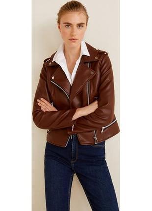 Коричневая косуха mango, испания. женская кожаная куртка, кожанка1