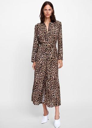 Платье миди леопард длинное в пол animal print zara оригинал с поясом макси1