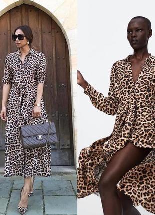 Платье миди леопард длинное в пол animal print zara оригинал с поясом макси4