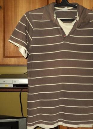 Мужская трикотажная коттоновая футболка,имитация двойки,винтаж