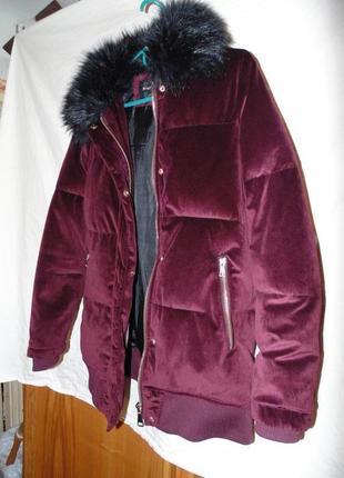 Куртка бархат вилюр зимняя river island оригинал6