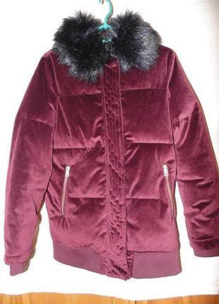 Куртка бархат вилюр зимняя river island оригинал8