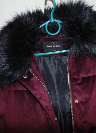 Куртка бархат вилюр зимняя river island оригинал2
