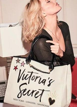 Victoria's secret сумка оригинал пляжная для города путешествий большая бежевая сумочка3