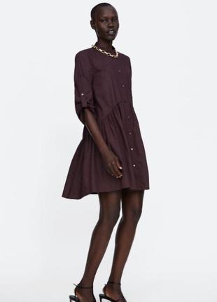 Платье zara оригинал марсала бордовое рубашка платье на пуговицах1