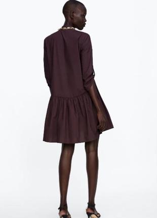 Платье zara оригинал марсала бордовое рубашка платье на пуговицах3