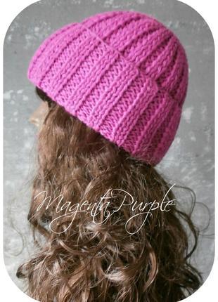 ❤ любая расцветка! хлопковая шапка с отворотом/цвета маджента пурпур