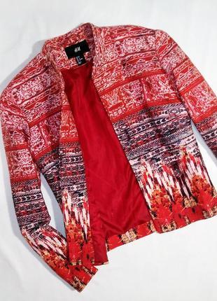 Яркий пиджак из льна с хлопком в ацтецкий принт h&m. размер 38/м3