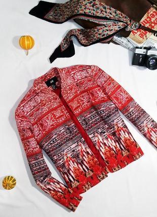 Яркий пиджак из льна с хлопком в ацтецкий принт h&m. размер 38/м4