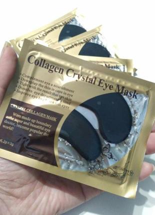 Гидрогелевые патчи дла глаз коллаген чёрные collagen crystal, маска коллагеновая9
