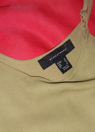 Оливковая блуза трапеция на тонких бретелях3 фото