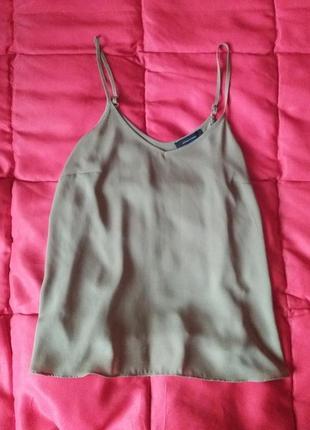 Оливковая блуза трапеция на тонких бретелях1 фото