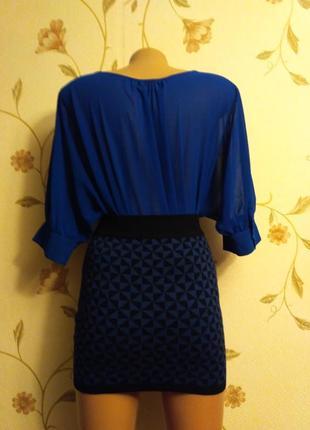 Шифоновая блуза оригинального фасона аквамарин4