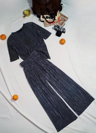 Крутой плиссированный комплект кюлоты + блуза (футболка) в цвете серебро