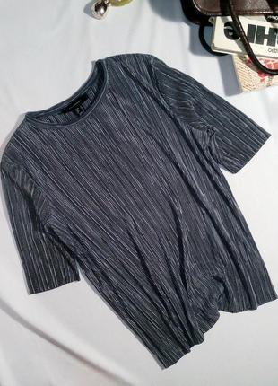 Крутой плиссированный комплект кюлоты + блуза (футболка) в цвете серебро3 фото