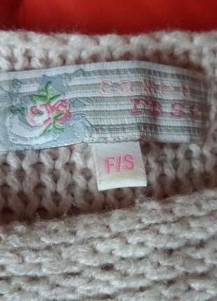 Нюдовый оверсайз свитер с черепом с опущенным плечевым швом3