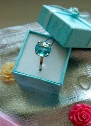 Бомбезное серебряное кольцо с небесно-голубым камнем2