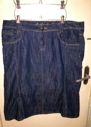 Джинсовая, качественная,синяя юбка с карманами, бол.22р.,evans autentic denim,пакистан