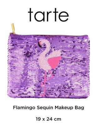 Косметичка tarte flamingo с блестками