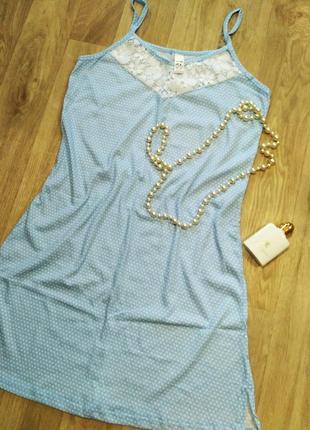 Нежная трикотажная ночная рубашка, ночнушка с кружевом, 52-54
