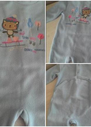 Флисовый человечек слип пижама 6-9 мес