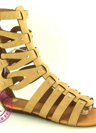 Римские сандалии, босоножки римлянки бежевые
