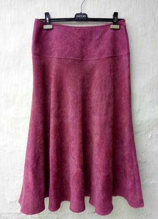 Красивая караловая под замш юбка солнцеклеш,колокол,вилюр,кармен.
