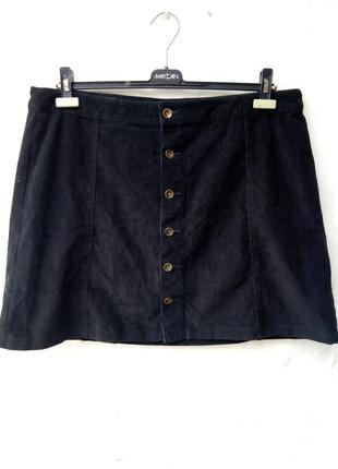 Трендовая черная вельветовая юбка на пуговицах,большой размер.