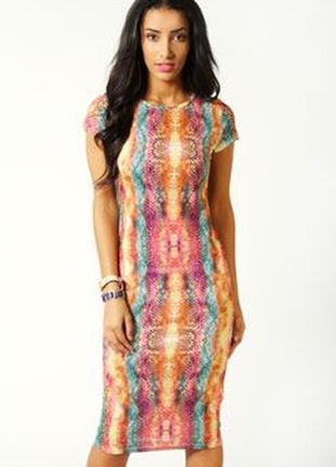 Новое платье миди змеиный принт от boohoo