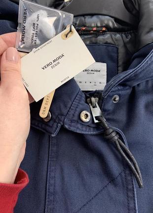 Качественная темно-синяя парка куртка с капюшоном демисезон vero moda8