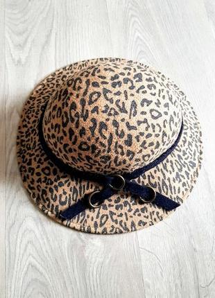 Клевая шляпа с небольшими полями с леопардовым принтом 88% шерсть