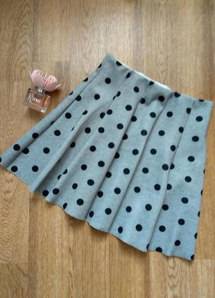 Серая юбка полусолнце в горошек с высокой талией xs-s/ расклешенная юбка с неопрена