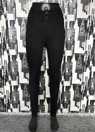 #540 черные джинсы скинни высокой посадки new look