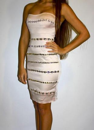 Нарядное платье бюстье , длина миди , по фигуре